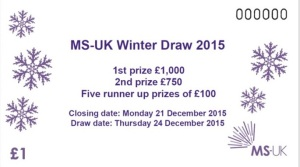Picture of a MS-UK 2015 Winter Draw ticket