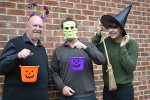 Picture of three members of the MS-UK Fundraising team in Halloween costunes