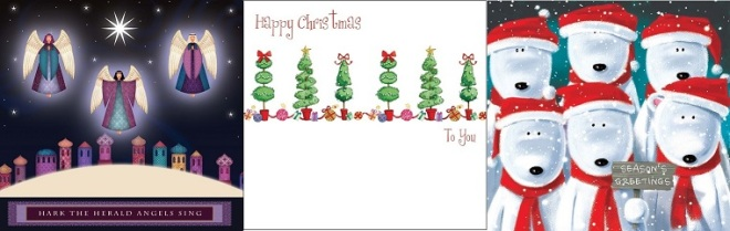 Picture of  the three designs of MS-UK Christmas Cards